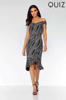 Silver Glitter Texture Bardot Dip Hem Dress