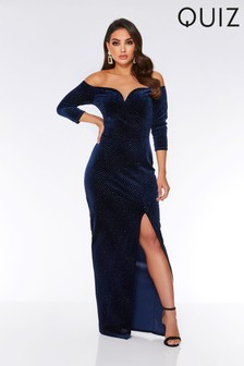Quiz Bardot Split Side Maxi Dress