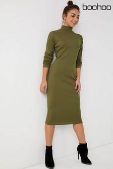Boohoo Ribbed High Neck Midi Dress