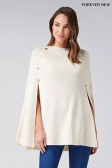 Forever New Knitted Button Poncho