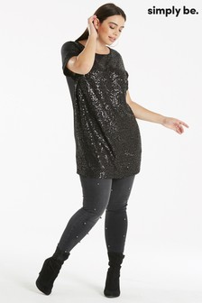 Simply Be Curve Sequined Jersey Tunic