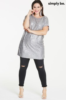 Simply Be Sequin Jersey Tunic