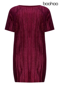 Boohoo Curve Plisse Velvet Shift Dress