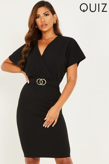 Quiz Gold Buckle Bodycon Midi Dress