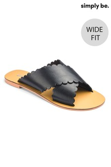 Simply Be Leather Cross Scallop Strap Wide Fit Sliders