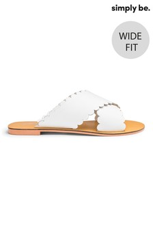 Simply Be Cross Scallop Strap Wide Fit Sliders