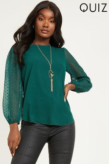 Quiz Gold Necklace Dobby Sleeve Top