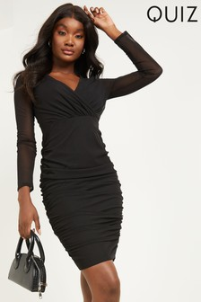 Quiz Mesh Sleeve Ruched Bodycon Midi Dress