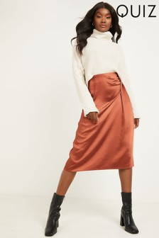 Quiz Satin High Waist Wrap Midi Skirt