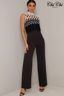 Chi Chi London Lubella Lace Overlay Jumpsuit