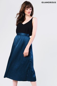 Glamorous Satin Pleated Midi Skirt