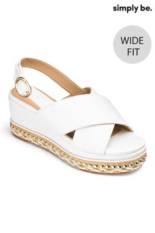 Simply Be Cross Strap Wide Fit Flatform Sandals
