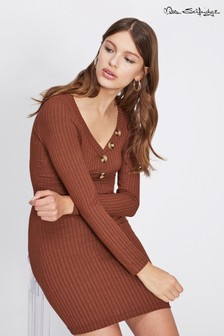 Miss Selfridge Button Rib Bodycon Dress