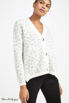 Miss Selfridge Animal Print Button Cardigan