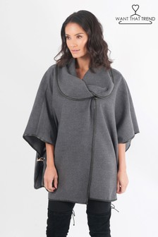 Want That Trend Clasp Detail Poncho