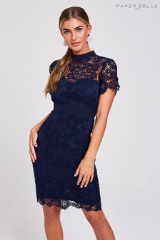 Paper Dolls High Neck Lace Midi Dress