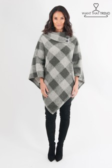 Want That Trent Checked Button Poncho