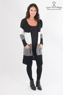 Want That Trend Colourblock Knitted Pocket Cardigan