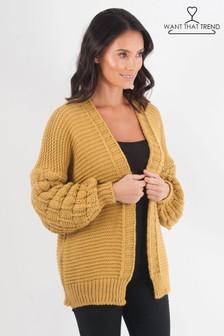 5c9f00b546 Want That Trend Quilted Sleeve Cardigan