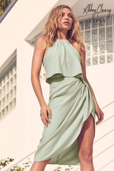 Abbey Clancy x Lipsy Satin Halter Midi Dress