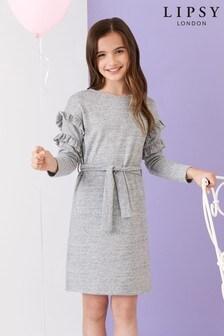 Lipsy Girl Cosy Frill Sleeve Dress
