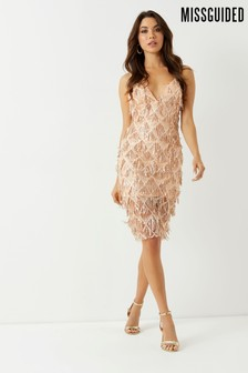 Missguided Fringe Sequin Midi Dress