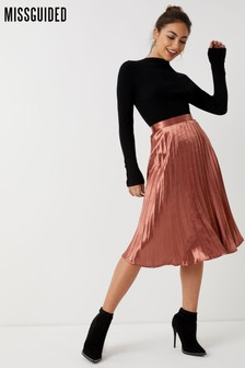 Missguided Satin Pleated Skirt