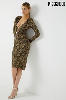 Missguided Snake Print Midi Dress