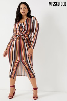 Missguided Curve Twist Front Slinky Midi Dress