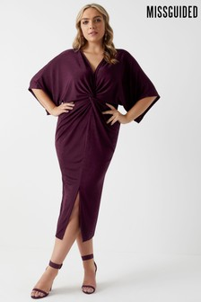 Missguided Curve Slinky Twist Front Kimono Sleeve Midi Dress