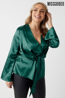 Missguided Curve Satin Drape Plunge Blouse