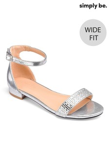 Simply Be Low Heel Ankle Strap Wide Fit Sandals