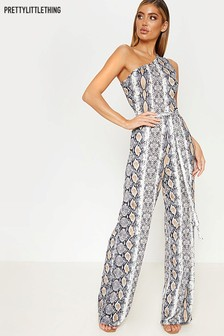 PrettyLittleThing Snake Print One Shoulder Jumpsuit