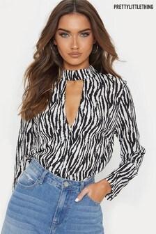 PrettyLittleThing Choker Neck Zebra Print Blouse