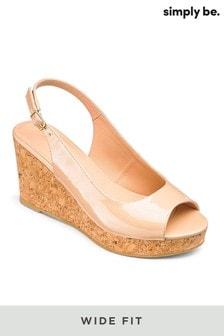 Simply Be Slingback Wide Fit Wedge Heel Sandals