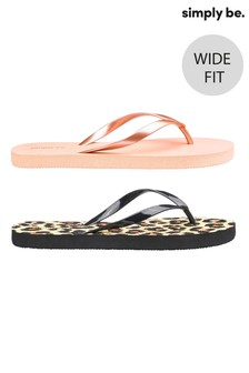 Simply Be Wide Fit Animal Print Flip Flops - Pack Of 2