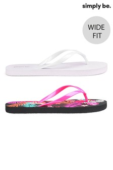 Simply Be Wide Fit Tropical Print Flip Flops - Pack Of 2