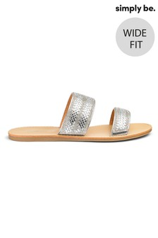 Simply Be Wide Foot Rumi Two Strap Diamanté Wide Fit Sandal