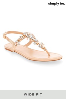 Simply Be Wide Foot Embellished Toe Post Sandal