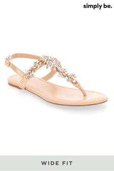 Simply Be Wide Foot Verzierte Sandalen mit Zehensteg