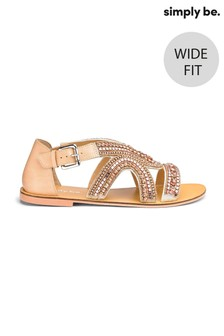 Simply Be Wide Foot Sydney Jewel Strapped Wide Fit Sandals