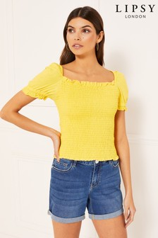 Lipsy Ditsy Shirred Square Neck Top