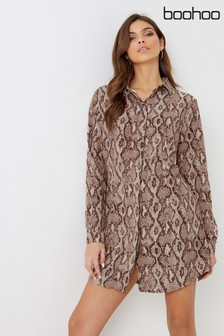 Boohoo Snake Print Shirt Dress