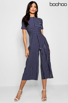 Boohoo Striped Wrap Culotte Jumpsuit