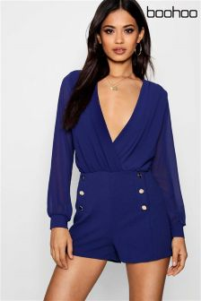 Boohoo Button Detail Wrap Playsuit