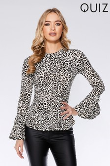 ebef0a1db86cf Quiz Leopard Print Long Sleeve Top