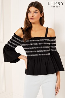 Lipsy Shirred Cold Shoulder Top
