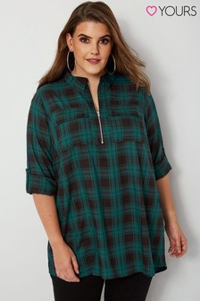Yours Curve Zip Check Shirt