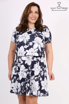 Want That Trend Curve Overlay Printed Dress