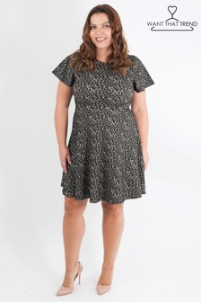 Want That Trend Curve Animal Print Skater Dress